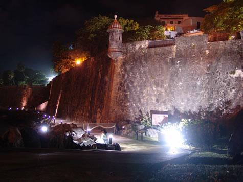 Outside Wall of el Morro at Night