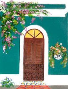 Teal House with Door and Planter