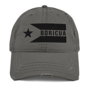 BORICUA Puerto Rico Flag Horizontal Distressed Dad Hat