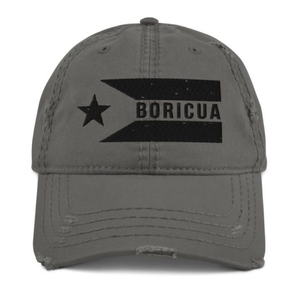BORICUA Puerto Rico Flag Horizontal Distressed Dad Hat