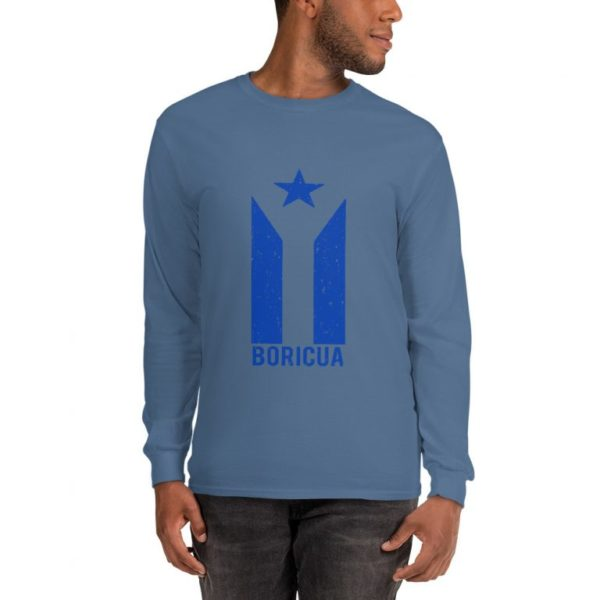 Boricua Puerto Rico Grunge Flag in Blue Mens Long Sleeve Shirt