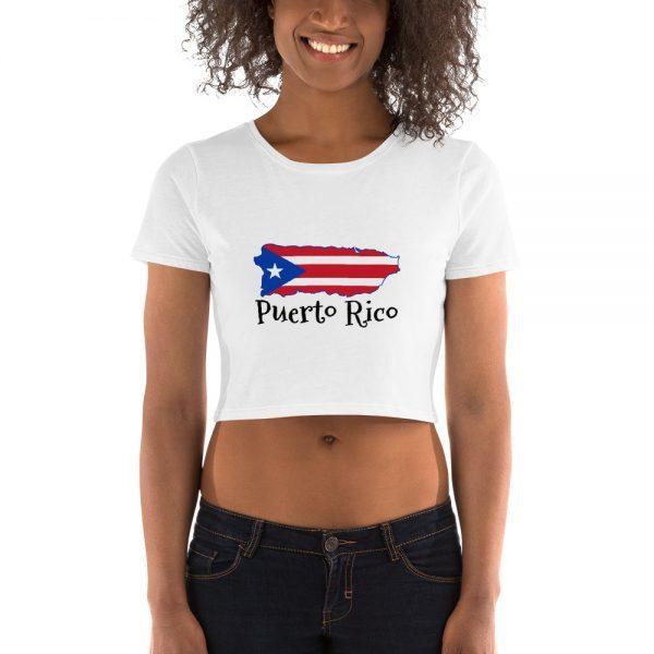 Puerto Rico Island Map Womens Crop Tee