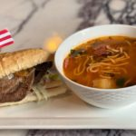Steak Sandwich with Sopa de Salchicon con Fideos