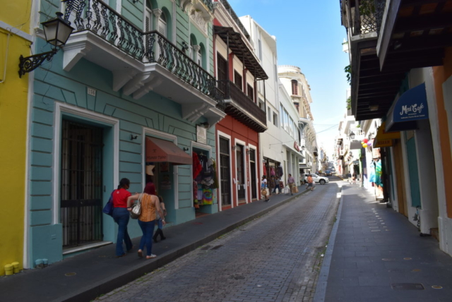the narrow streets of Old San Juan