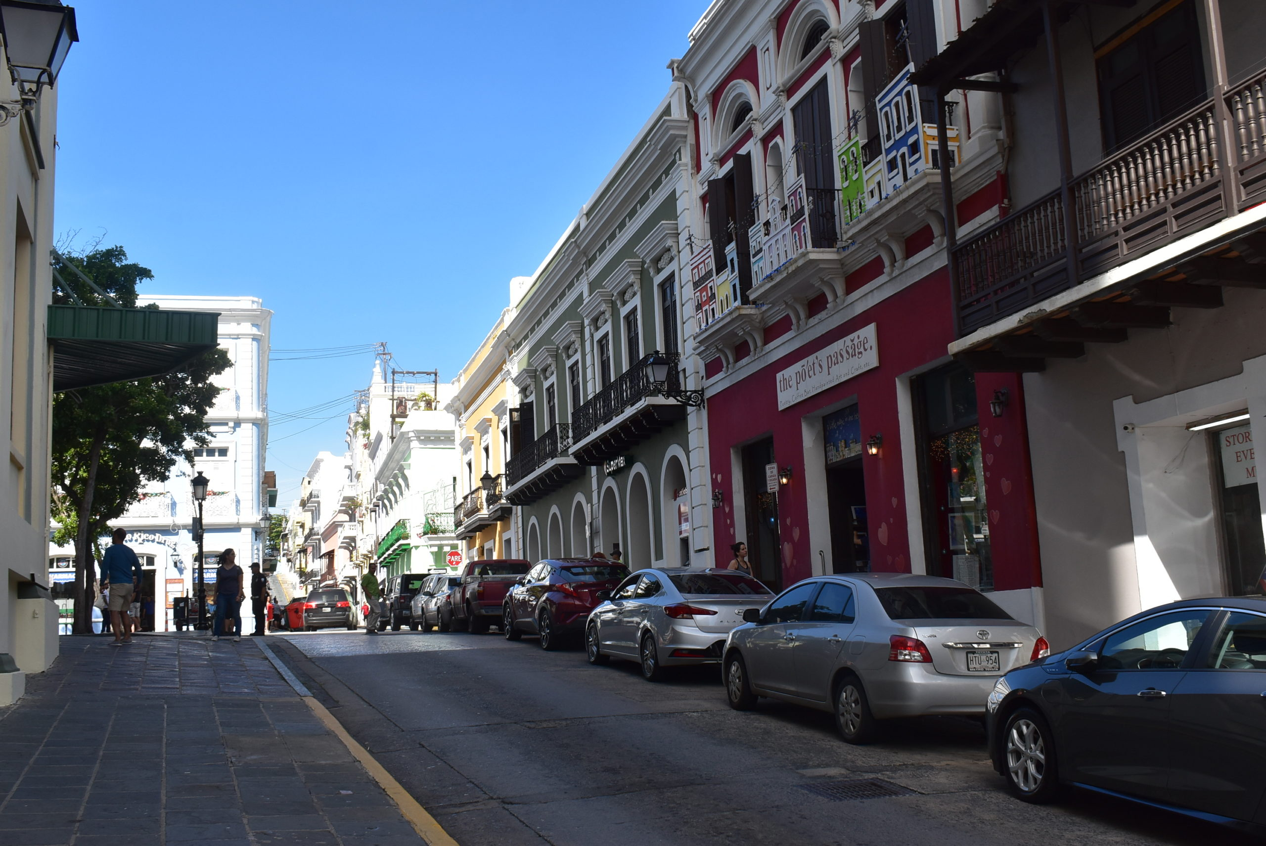 down the block from the Plaza in Old San Juan